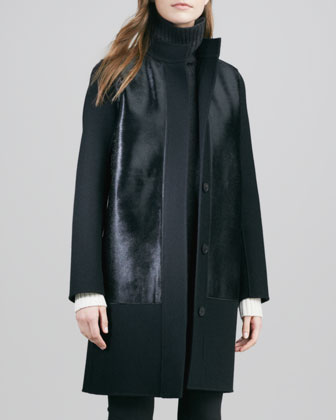 Double-Face Melton Coat with Calf-Hair Trim