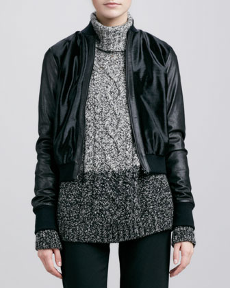 Calf Hair Bomber Jacket