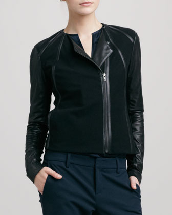 Leather-Sleeve Collarless Jacket, Black
