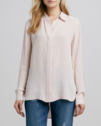 Button-Down Silk Blouse, New Buff