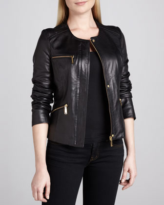 Angelica Leather Front-Zip Jacket