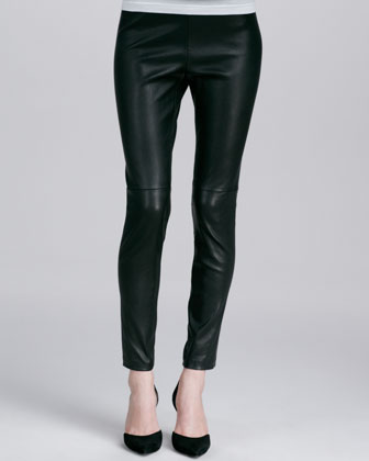 Relaxed V-Neck Cashmere Sweater & Zipper-Cuff Cropped Leather Leggings