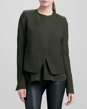 Double-Faced Wool Jacket, Olive