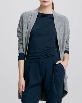 Long Open Cashmere Cardigan, Platinum