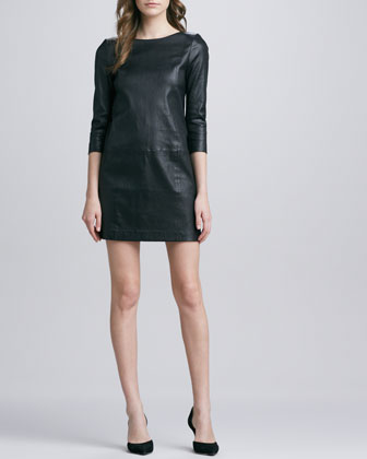 Relaxed 3/4-Sleeve Leather Minidress