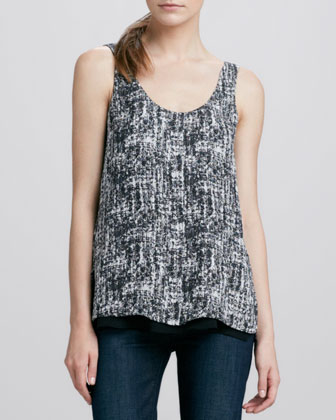 Double-Layer Printed Silk Tank, Black/White