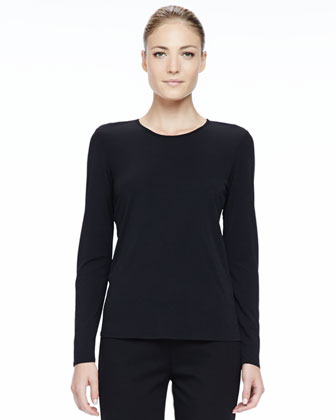 Silk Jersey Long-Sleeve Tee, Women's
