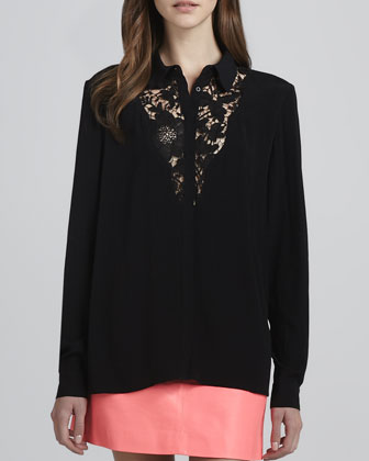Tumbling Dice Lace-Front Blouse, Black
