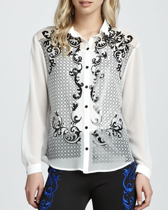 Foiled & Embroidered Blouse