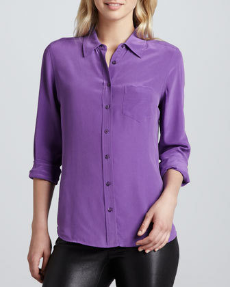 Brett Vintage Wash One-Pocket Blouse, Purple Haze
