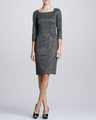 3/4-Sleeve Animal-Print Dress