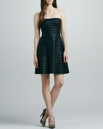 Strapless Faux-Leather Cocktail Dress