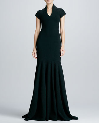 Hanna Textured Wool-Crepe Gown