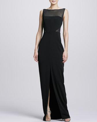 Mesh Bodice Center-Slit Gown