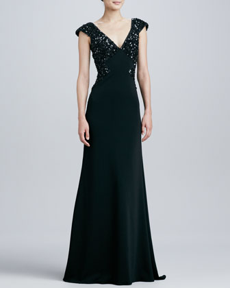 Beaded V-Neck Cap-Sleeve Gown