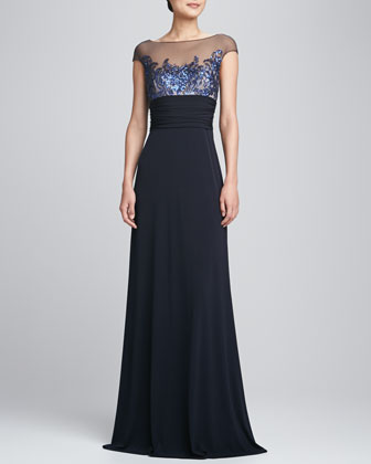 Illusion-Neck Swan Bodice Gown