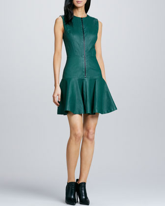 Front-Zip Flared Leather Dress