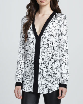 Solid-Trim Silk Blouse