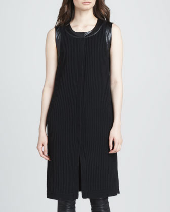 Leather-Trim Ribbed Vest