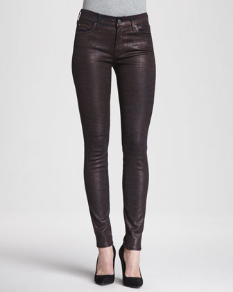 The Skinny Croc-Print Coated Jeans, Burgundy