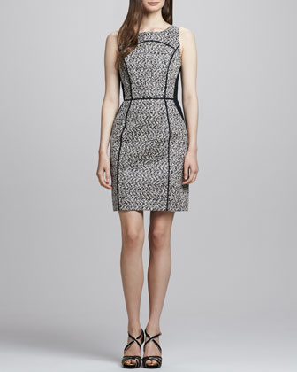 Sleeveless Two-Tone Herringbone Dress