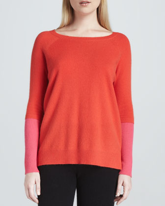 Cashmere Colorblock Raglan-Sleeve Sweater