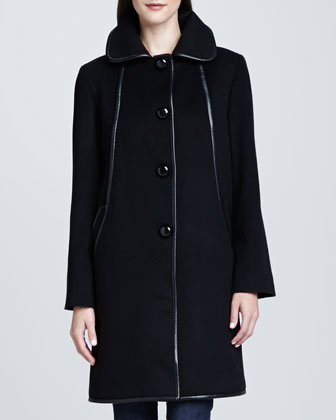 Straight Leather-Piped Coat, Black