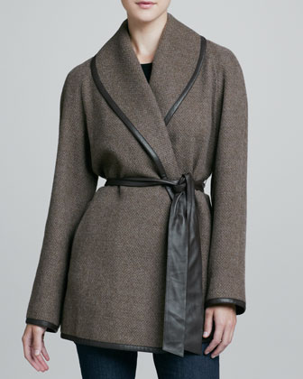 Alpaca Tweed Leather-Trim Belted Coat
