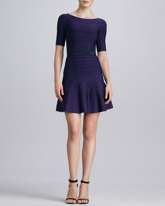 Boat-Neck Flare-Hem Bandage Dress