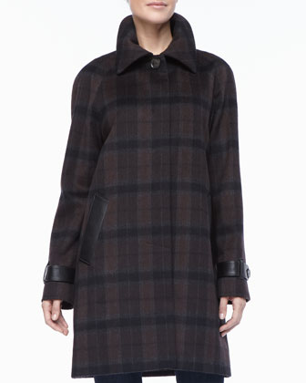 Plaid Balmacaan Leather-Trim Coat