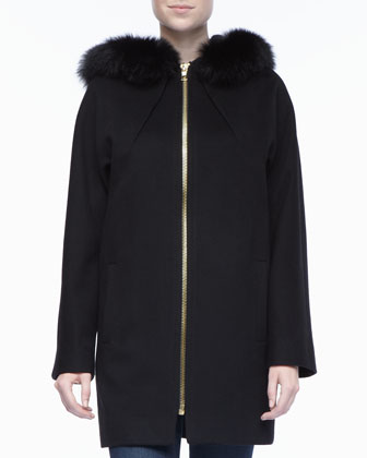 Zipper Front Dolman Sleeve Fur Coat