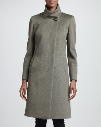 Funnel-Neck Wool Coat, Olive