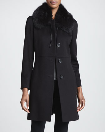 Wool Three-Button Fox Fur-Collar Coat