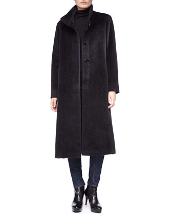 Fuzzy Funnel Neck Long Coat