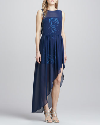 Asymmetric Chiffon-Veiled Sequin Gown