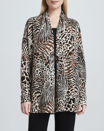 Animal-Print Open Cashmere Cardigan