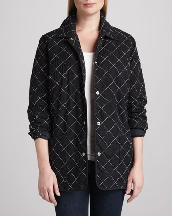 Quilted Silk Barn Jacket, Petite
