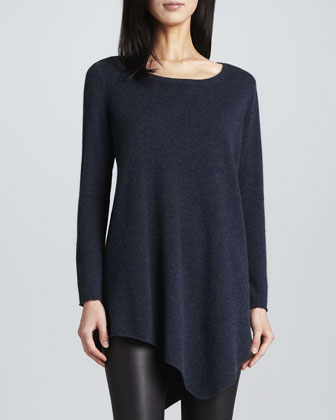 Tambrel Sweater with Asymmetric Hem, Heather Midnight