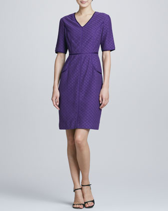 V-Neck Eyelet-Lace Shift Dress