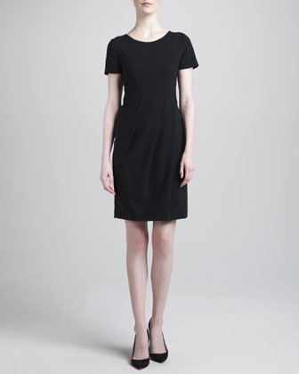 Pleated-Skirt Featherweight Wool Dress, Black