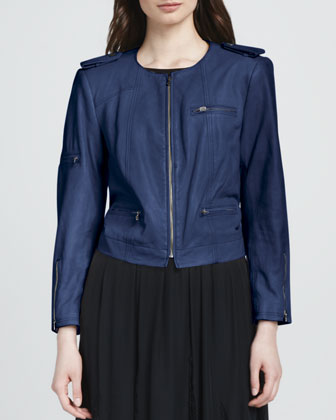 Cropped Leather Zip Jacket