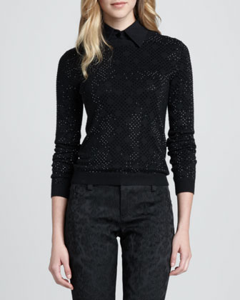 Mira Rhinestone Knit Sweater
