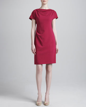 Draped Featherweight Wool Dress, Raspberry