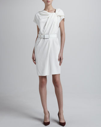 Crepe Asymmetric Belted Dress, White