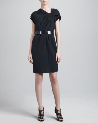 Crepe Asymmetric Belted Dress, Navy