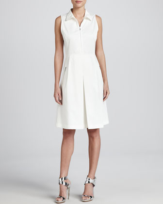 Sleeveless Zip-Front Stretch Dress, Off White