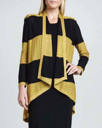 Tiffany Striped High-Low Cardigan & Sleeveless Jersey Dress, Women's