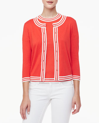 anabella striped-trim cardigan