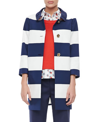 franny 3/4-sleeve striped coat