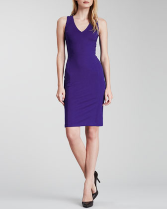 V-Neck Ponte Pencil Dress